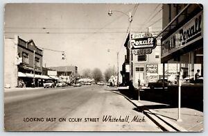 Whitehall MI Klinefeleter 5c&$1~Pitkin Rexall~Maples Motel~To Muskegon~1960 RPPC
