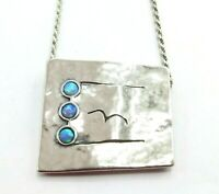 """Didae Sterling Silver Hammered Square Opal Cabochon Pendant Necklace, 18"""""""