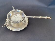 Oriental Japanese Revival Tea Strainer and Caddy 800 Silver