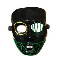 Light Up Multicoloured LED Neon Mask Halloween Fancy Dress The Purge