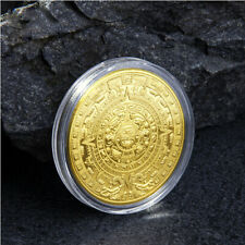 1PC Commemorative Coin With Plastic BOXCollection Gold Plated Mayan Aztec  Gift