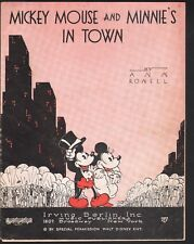 Mickey Mouse and Minnie's In Town 1933  Sheet Music