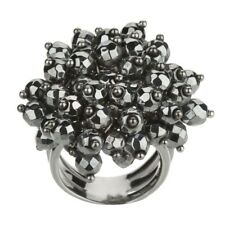 QVC Ring Cluster Sterling Silver Bead Faceted Hematite Size 10 Sold Out