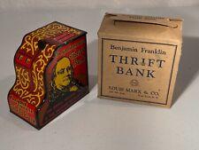 1930's Marx Benjamin Franklin Cash Register Tin Litho Coin Bank Toy & Box