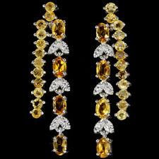 Große Ohrringe Citrin & CZ 925 Silber 585 weißvergoldet