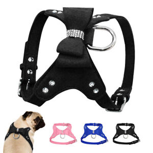 Fashion Bows Dog Vest Harness for Small Dogs Girl Pet Puppy Yorkshire Pink Blue