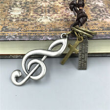 Men's Retro Metal Musical note Pendant Genuine Leather Surfer Choker Necklace