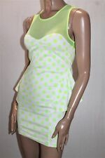 Dazzling Brand White Lime Green Polka Dot Peplum Dress Size 8 BNWT #TG58