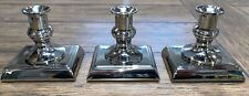 "Trio Stainless Steel Weighted Taper 3.25"" Tall Candle Stick Holders Set of 3"