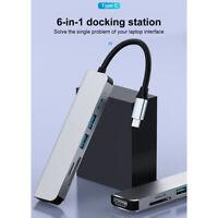 6in1 USB C Hub Multiport Adapter Dongle 4K HDMI 2 USB 3.0 Port SD / TF Reader