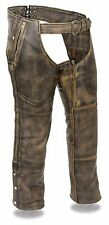 Only XS and 4X Left Mens Distressed Brown Leather Chaps, 4 Pocket, Thermal Liner
