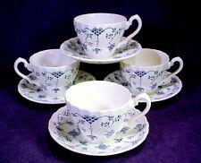 4 MYOTT China FINLANDIA Tea CUP SAUCER SETS Blue Swirl LOT Staffordshire ENGLAND