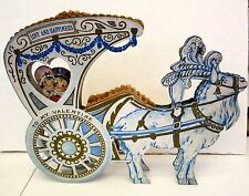 1920s Large Valentine Display w/ Couple in Goat Carriage has Honeycomb Center