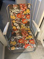 Vintage Fold Out Fabric Garden Deck Chair Retro Floral Orange Yellow Grey Brown