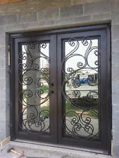 Double Wrought iron door, Forged door Glass included