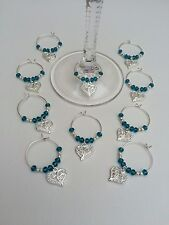 20 Teal/dark Turquoise Crystal Wedding Wine Glass Charms. Favours,parties,gift