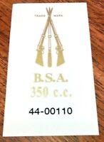 BSA 350 c.c. piled arms rear number plate vinyl sticker B31 B32 GS B40 SS90 pair