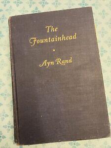 The Fountainhead Ayn Rand Bobbs Merrill 1943 Hard Cover Black & Blue Title