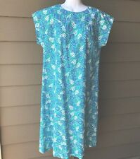 Vtg The Lilly Cat Ballo Shift dress~M Turquoise blue green white Lilly Pulitzer