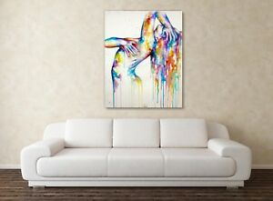 Canvas Wall Art - Naked Woman Watercolour