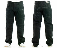 Mens Regular Fit Jeans 100% Cotton Black Coated Denim Pants Straight Leg