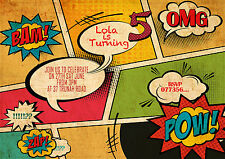 Personalizzata Fumetto Stile Festa Di Compleanno Inviti, FUMETTO bokk PARTY invitare