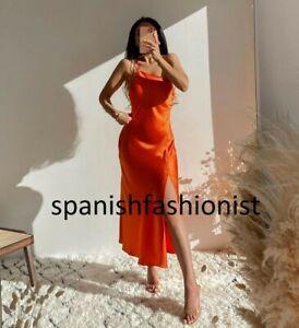 ZARA WOMAN NWT SS21 ORANGE SATIN LINGERIE STYLE DRESS ALL SIZES  3522/845