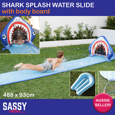 Inflatable Water Slide Shark Splash Slip and Slide with Board Hose Attachment