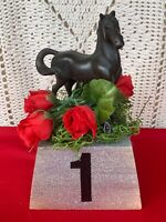 Vintage Thoroughbred Horse Trophy Kentucky Derby Run for Roses 1st Place ❤️sj7m