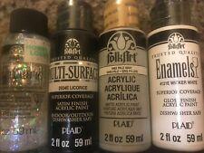 Lot of 4 FolkArt Acrylic Paint 2oz Glitterific/ Multi surface/Enamels