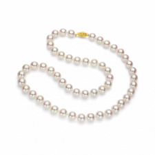 "White Round Akoya Pearl 18"" Strand Necklace with 14k Yellow Gold Clasp"