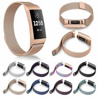 For Fitbit Charge 3 Strap Replacement Milanese Band Watch Stainless Steel Magnet