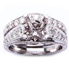 .92ct 18K Round Brilliant Diamond Antique Semi Mount Engagement Ring Wedding Set