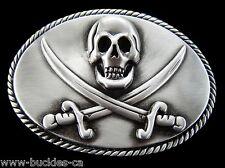 PIRATES CARIBBEAN SEA SKULL HEAD CROSS SWORDS FLAG BELT BUCKLE BELTS BUCKLES