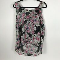 Torrid Womens Black Floral Top Sheer Sleeveless Hi Low Plus Size 0X