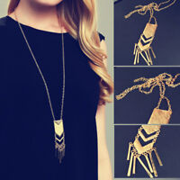 women girl fashion Long Necklace Tassel Sweater Chain charm Pendant Gold Plated
