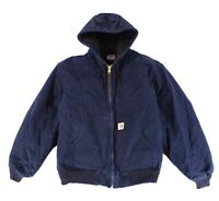 Carhartt Mens Jacket Blue Size 2XL Front Zip Quilted Lined Hooded $99 #060