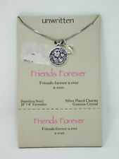 "Unwritten FRIENDS FOREVER Charm Necklace 18"" silver plate Crystal friendship"