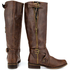 G by Guess Hertlez Med Brown Leather Fashion Knee-High Boots WIDE CALF SIZE 5.5