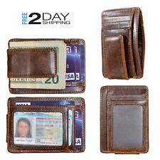 Mens Genuine Leather Money Clip RFID Blocking ID Card Front Pocket Slim Wallet