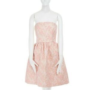 PRADA gold pink floral cloque tulle lined full skirt strapless dress IT40
