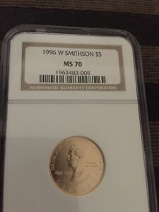 1996-W Smithsonian Anniversary MS70 $5 Gold Commemorative  NGC