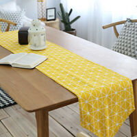 Yellow Modern Table Runner Cotton Linen Tablecloth Cover Wedding Party Home Deco