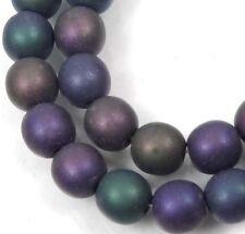 50 Czech Frosted Sea Glass Round Beads - Matte Iris Purple 6mm