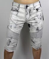 True Religion $249 Men's Geno Slim Straight Worn Bronx Moto Shorts - MDAD091VO2