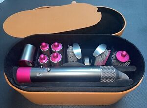 Used Dyson Airwrap Styler Hair Styling In Nickel/Fuchsia Unit Works Tools Not On