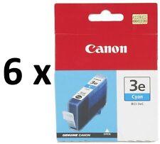 6 x Canon Genuine Ink Printer Cartridges BCI-3eC,BCI3/3/3e Cyan/Blue/C CLEARANCE