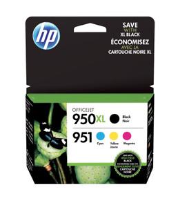 HP 950XL/951 Black High Yield and Cyan/Magenta/Yellow Ink Cartridges Genuine