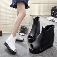 Women Athletic uk2.5-6  New Ankle Boots Sandals Wedge Heel High Platform Shoes