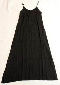 Joli Nu Women's Solid Bisou Pocketed Maxi Dress W/Slits NA8 Black Size M/L NWT